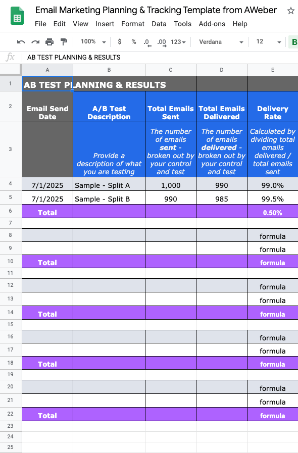 AB Test Template