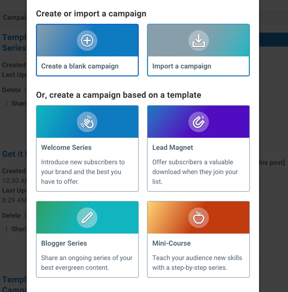 Pre-built email campaigns