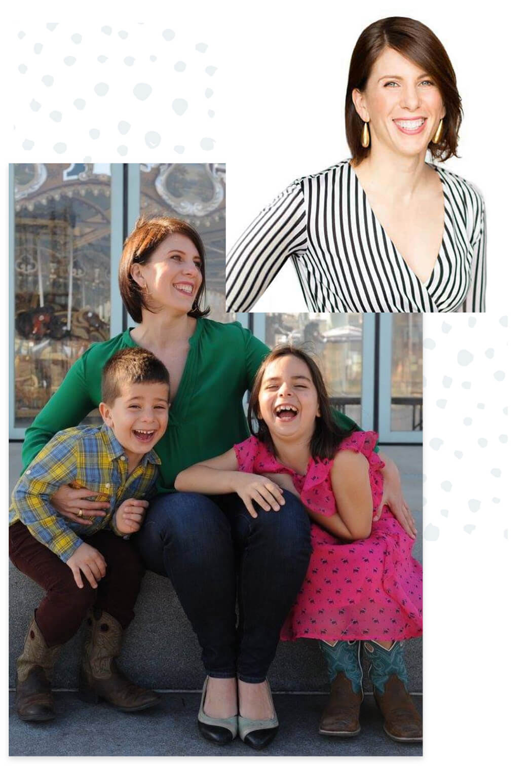 Photo of Emma Johnson laughing with her son and daughter