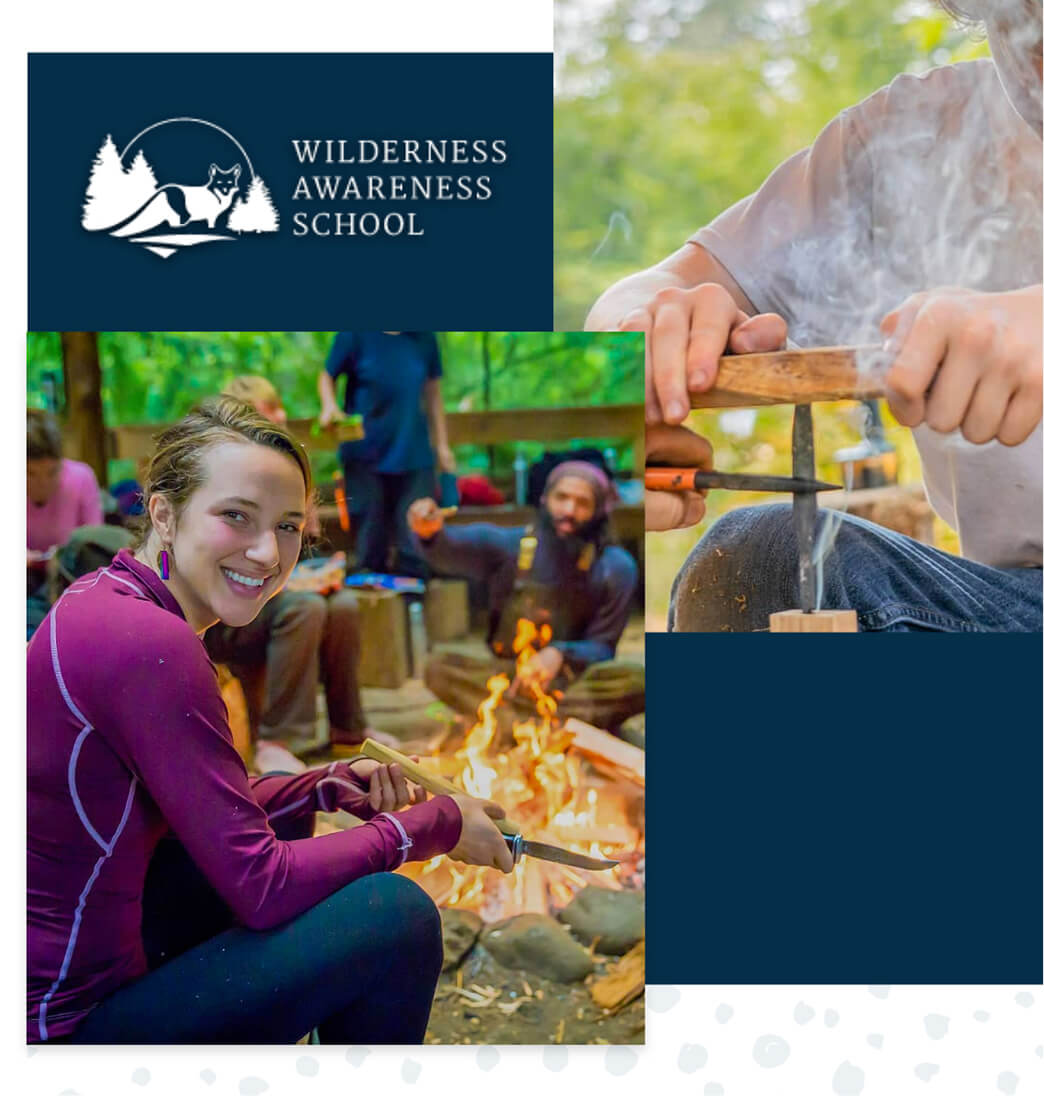 Wilderness Awareness School logo and photos of teenagers learning how to start a campfire