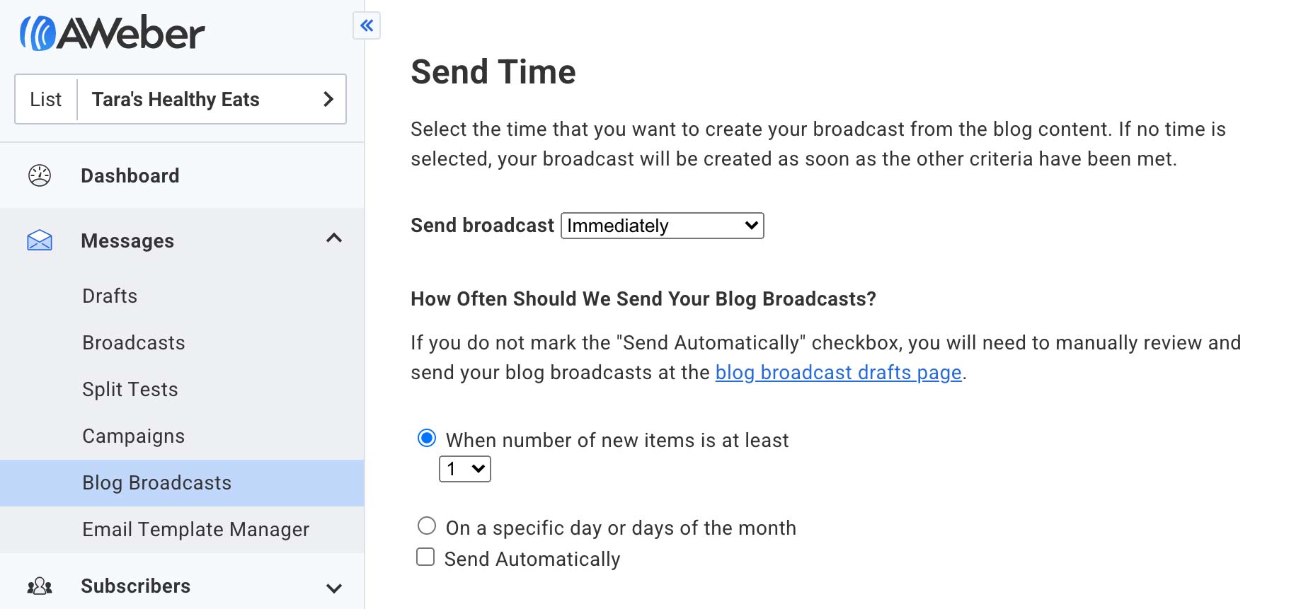 Schedule Your Blog Feed