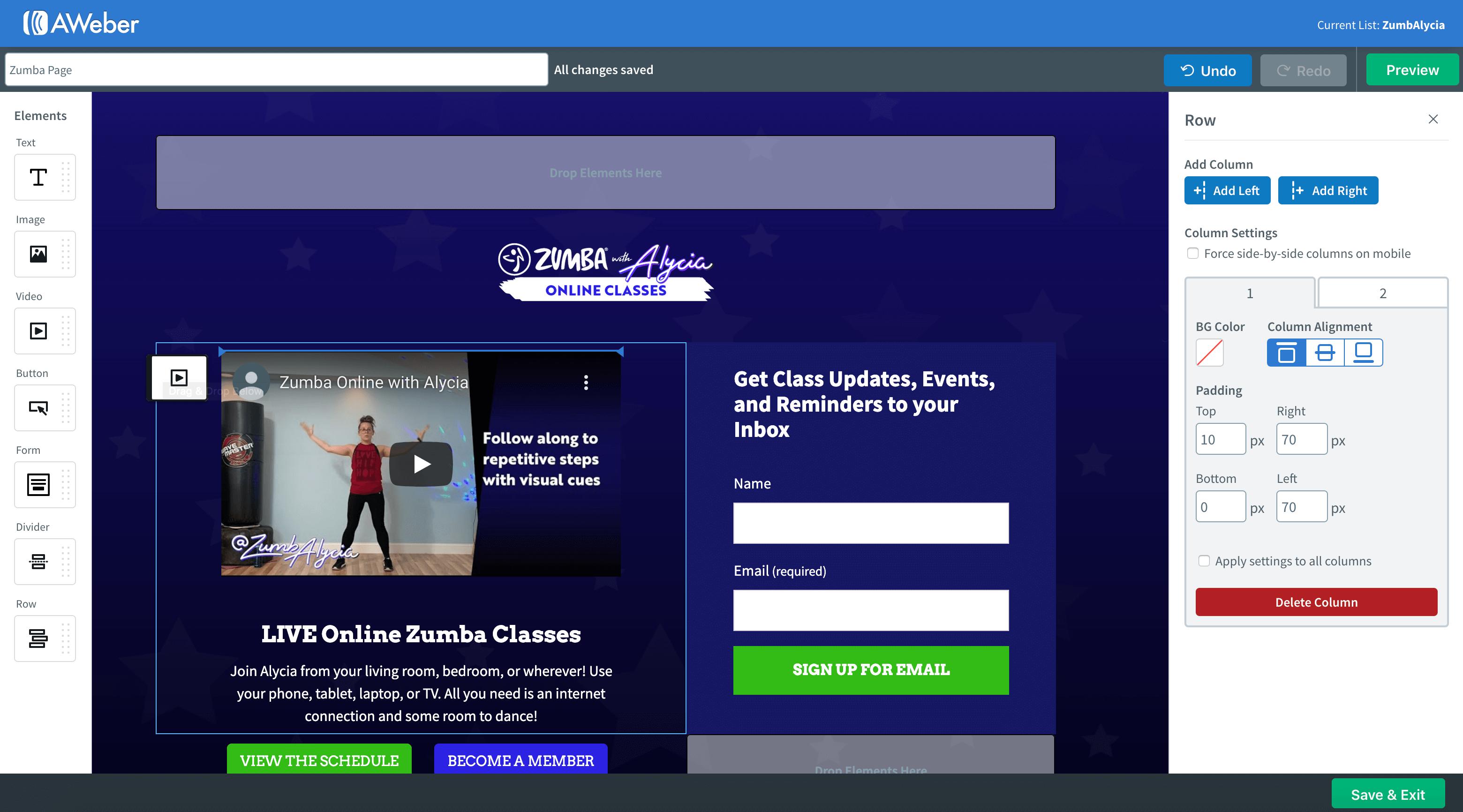 AWeber Landing Page Builder
