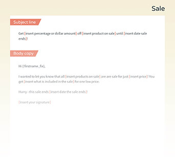 Increase your sales with this email template.